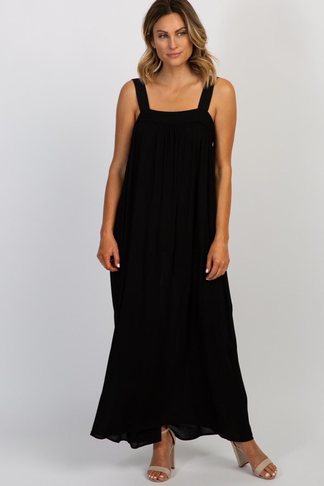 black solid tie back maxi dress