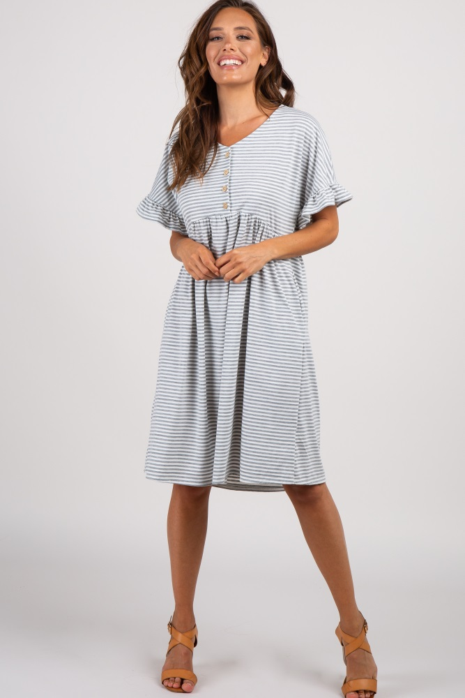 9f7f712f8c8b Grey Striped Ruffle Sleeve Button Front Maternity Dress