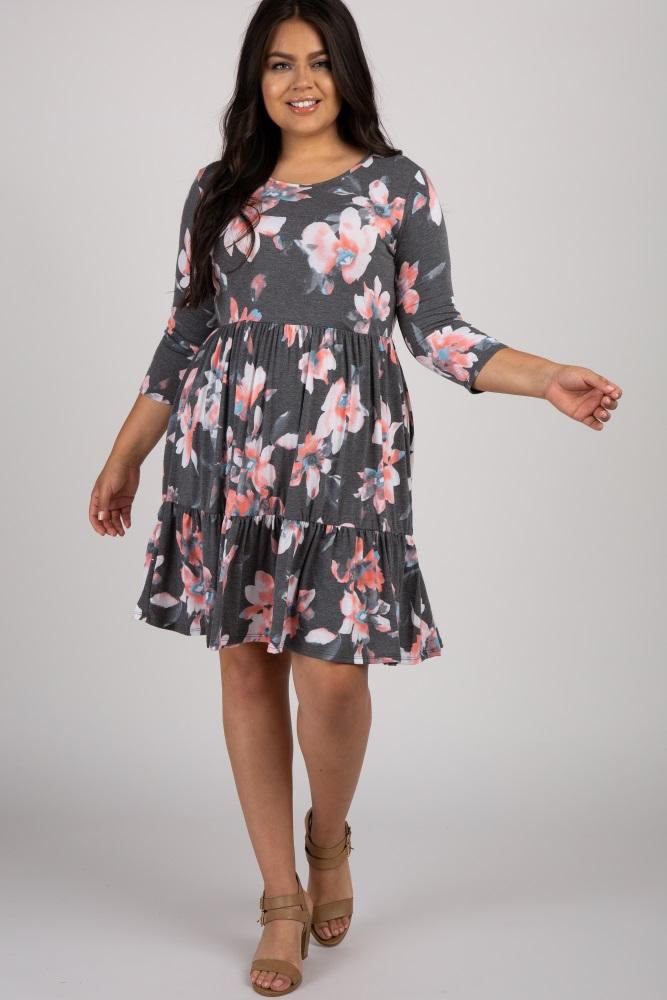 Charcoal Floral 3/4 Sleeve Women\'s Plus Dress