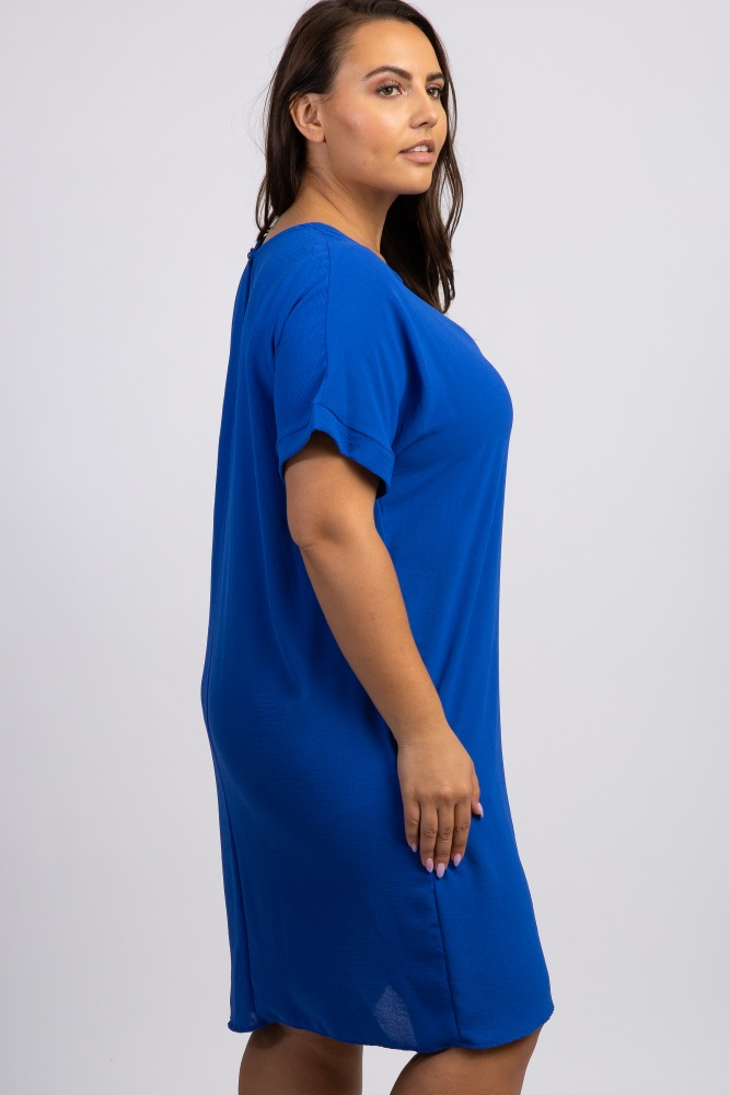 Royal Blue Solid Short Sleeve Plus Dress