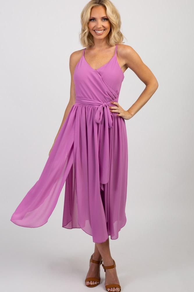 Lavender Self-Tie Sleeveless Jumpsuit