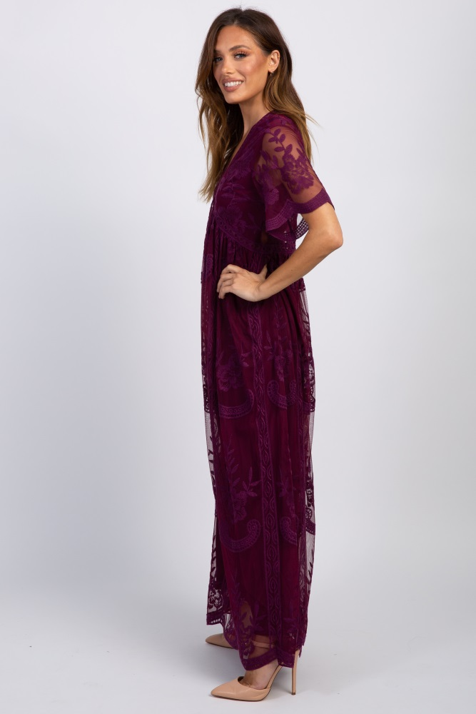 skate shoes find lowest price provide plenty of Deep Burgundy Lace Mesh Overlay Maxi Dress