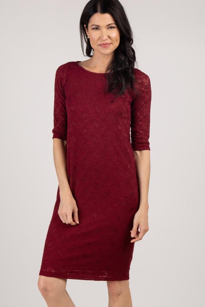 d5b193c8dabe9 Burgundy Lace Maternity Dress