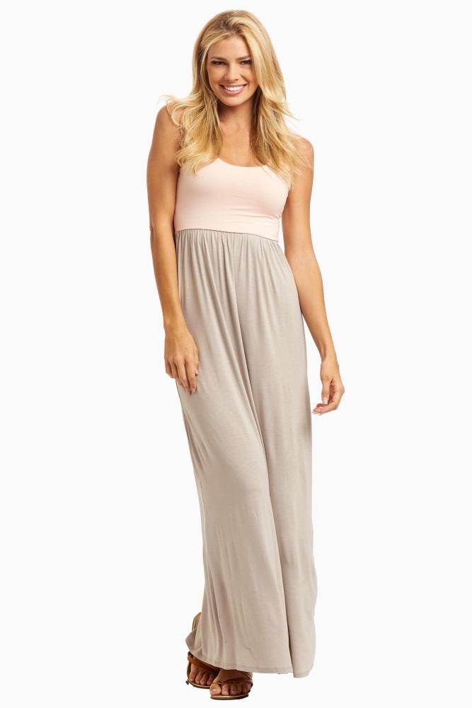 32bd5f166b6205 Beige Pale Pink Colorblock Maternity Maxi Dress