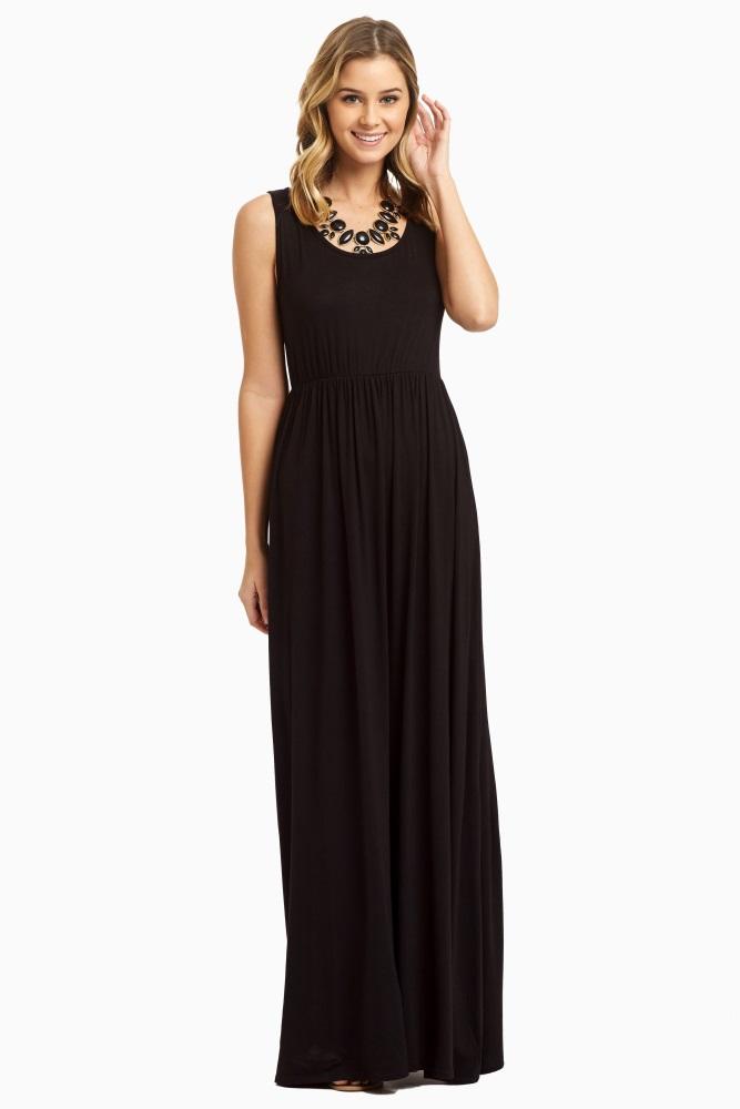 6f905e1e77d Tall Black Basic Sleeveless Maternity Maxi Dress