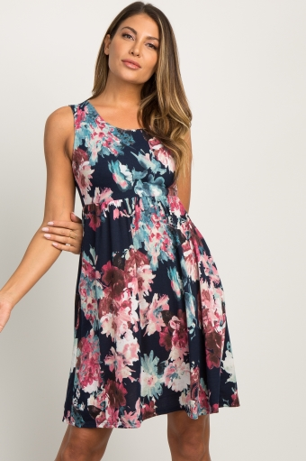 Pinkblush maternity clothes for the modern mother navy blue floral sleeveless dress mightylinksfo